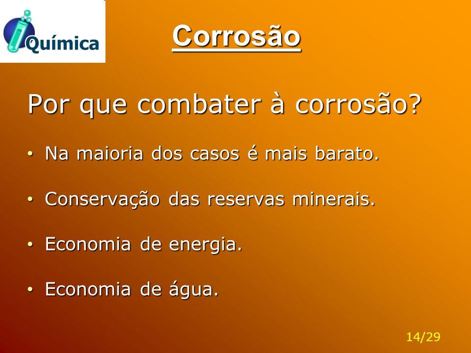Corrosão Por que combater à corrosão? Na maioria dos casos é mais barato. Na maioria dos casos é mais barato. Conservação das reservas minerais. Conse