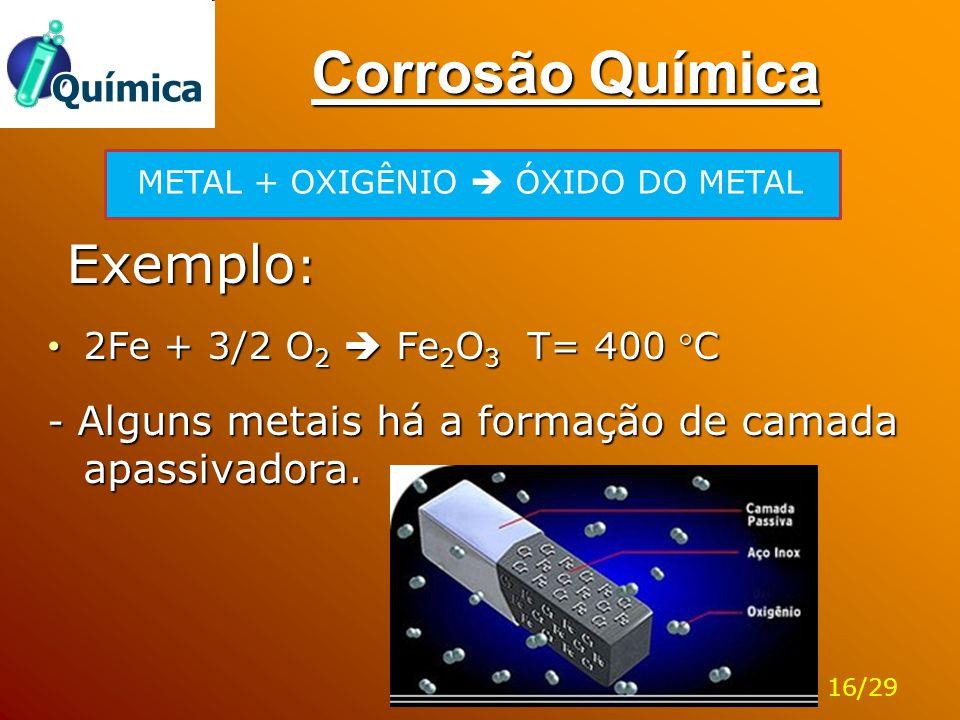 Corrosão Química Exemplo : Exemplo : 2Fe + 3/2 O 2  Fe 2 O 3 T= 400 C 2Fe + 3/2 O 2  Fe 2 O 3 T= 400 C - Alguns metais há a formação de camada apa