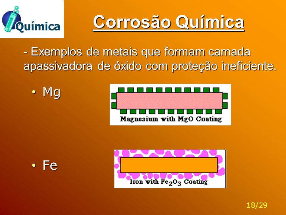 Corrosão Química - Exemplos de metais que formam camada apassivadora de óxido com proteção ineficiente. Mg Mg Fe Fe 18/29