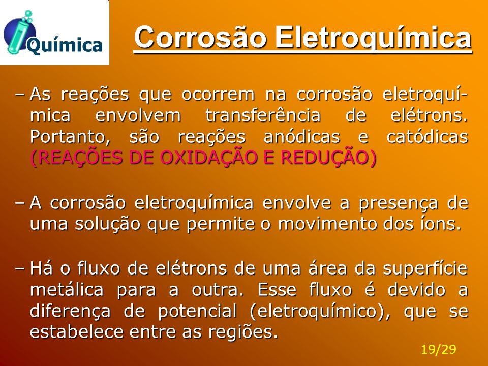 Corrosão Eletroquímica –As reações que ocorrem na corrosão eletroquí- mica envolvem transferência de elétrons. Portanto, são reações anódicas e catódi