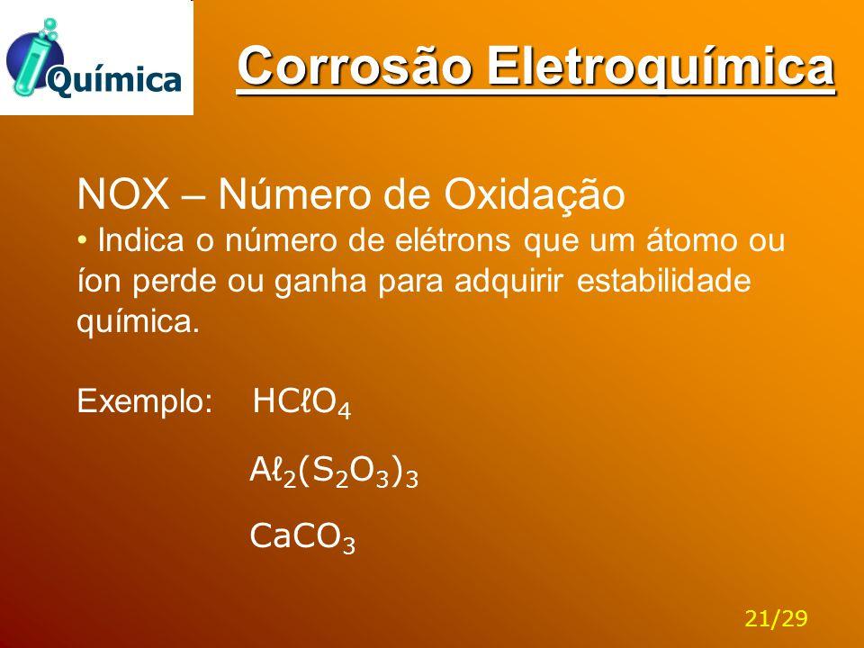 Corrosão Eletroquímica NOX – Número de Oxidação Indica o número de elétrons que um átomo ou íon perde ou ganha para adquirir estabilidade química. Exe