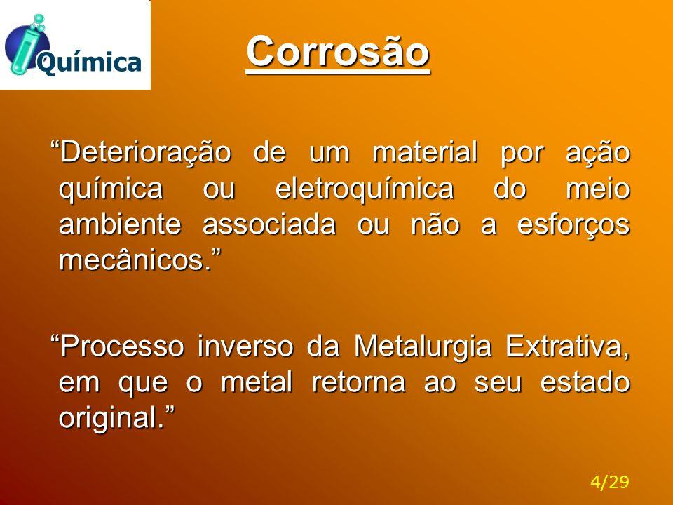 Corrosão A deterioração leva:  Ao desgaste  À variações químicas na composição  À modificações estruturais Em geral a corrosão é um processo espontâneo O Químico deve:  Saber como evitar condições de corrosão severa.