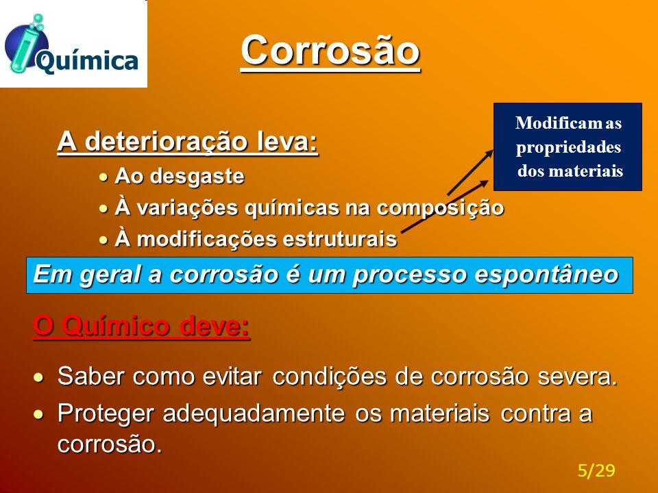 Corrosão A deterioração leva:  Ao desgaste  À variações químicas na composição  À modificações estruturais Em geral a corrosão é um processo espont