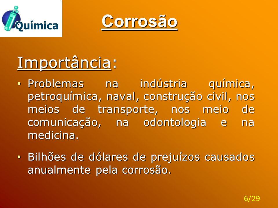 Corrosão Importância: Problemas na indústria química, petroquímica, naval, construção civil, nos meios de transporte, nos meio de comunicação, na odon