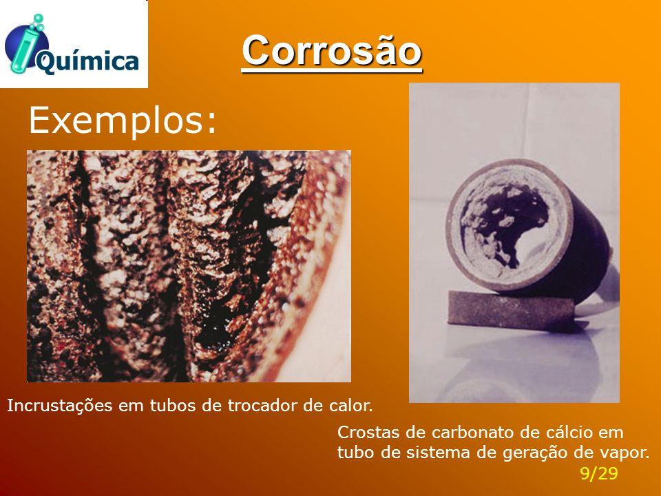 Corrosão Incrustações em tubos de trocador de calor. Crostas de carbonato de cálcio em tubo de sistema de geração de vapor. Exemplos: 9/29