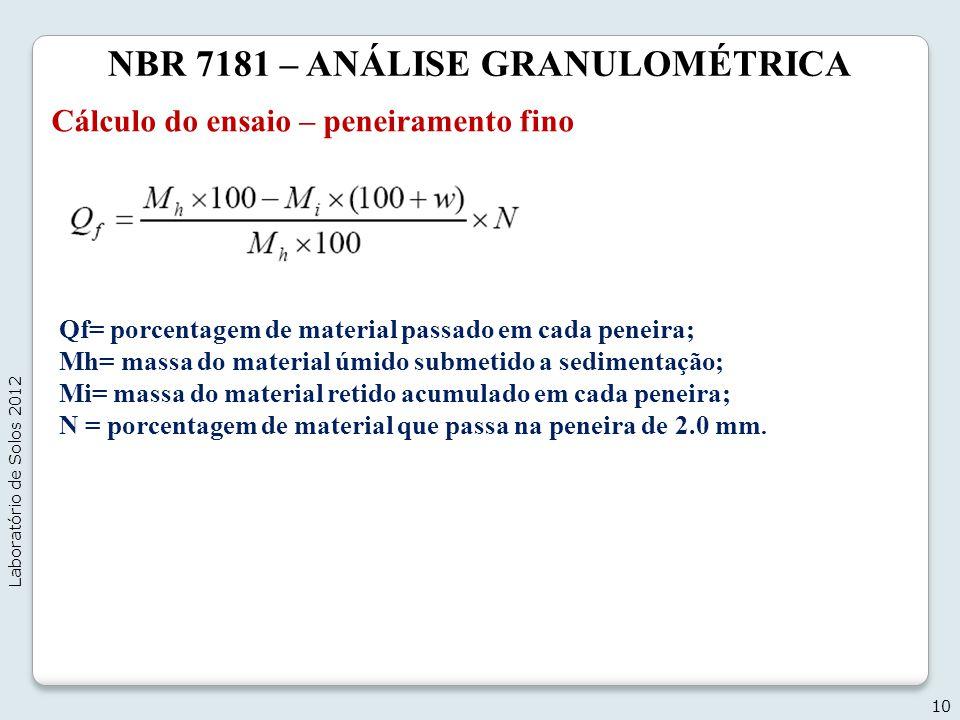 NBR 7181 – ANÁLISE GRANULOMÉTRICA Cálculo do ensaio – peneiramento fino 10 Laboratório de Solos 2012 Qf= porcentagem de material passado em cada penei