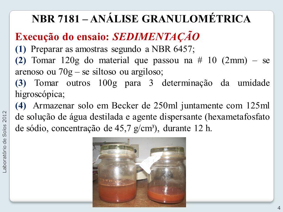 NBR 7181 – ANÁLISE GRANULOMÉTRICA Execução do ensaio: SEDIMENTAÇÃO (1) Preparar as amostras segundo a NBR 6457; (2) Tomar 120g do material que passou