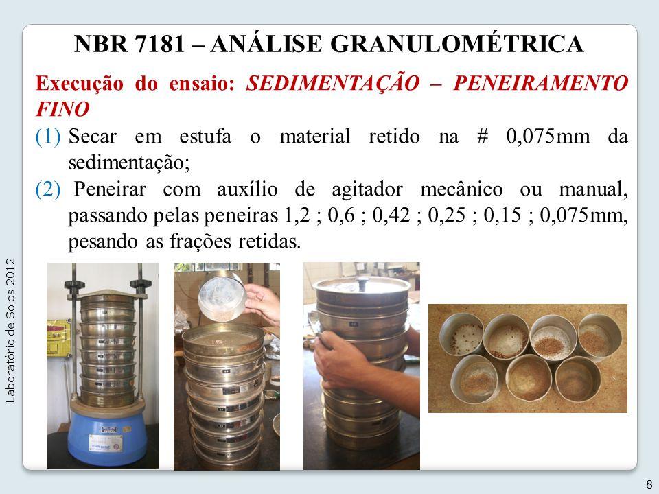NBR 7181 – ANÁLISE GRANULOMÉTRICA Execução do ensaio: SEDIMENTAÇÃO – PENEIRAMENTO FINO (1)Secar em estufa o material retido na # 0,075mm da sedimentaç