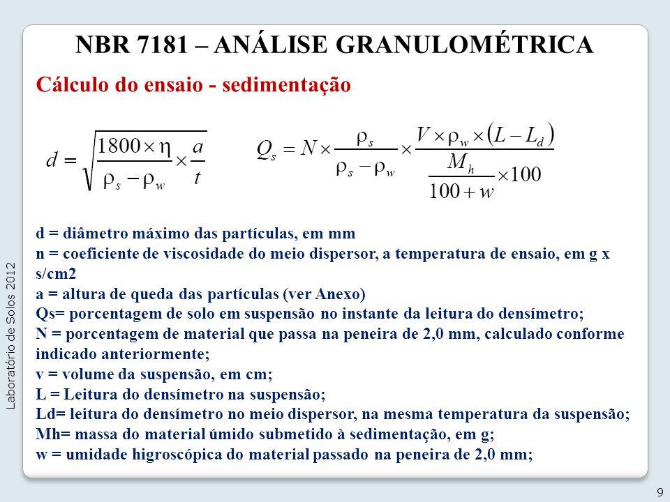 NBR 7181 – ANÁLISE GRANULOMÉTRICA Cálculo do ensaio - sedimentação 9 Laboratório de Solos 2012 d = diâmetro máximo das partículas, em mm n = coeficien
