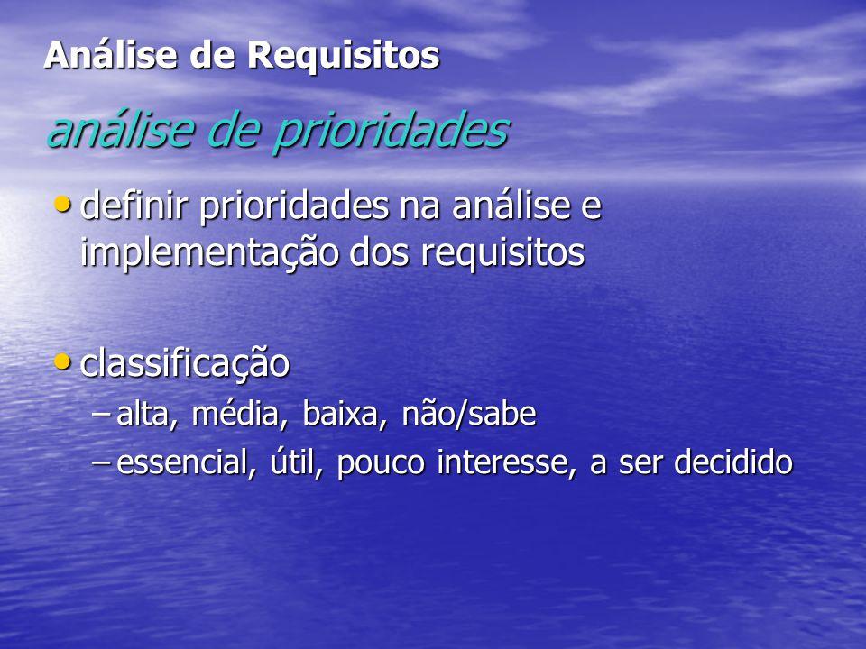 Análise de Requisitos análise de prioridades definir prioridades na análise e implementação dos requisitos definir prioridades na análise e implementa