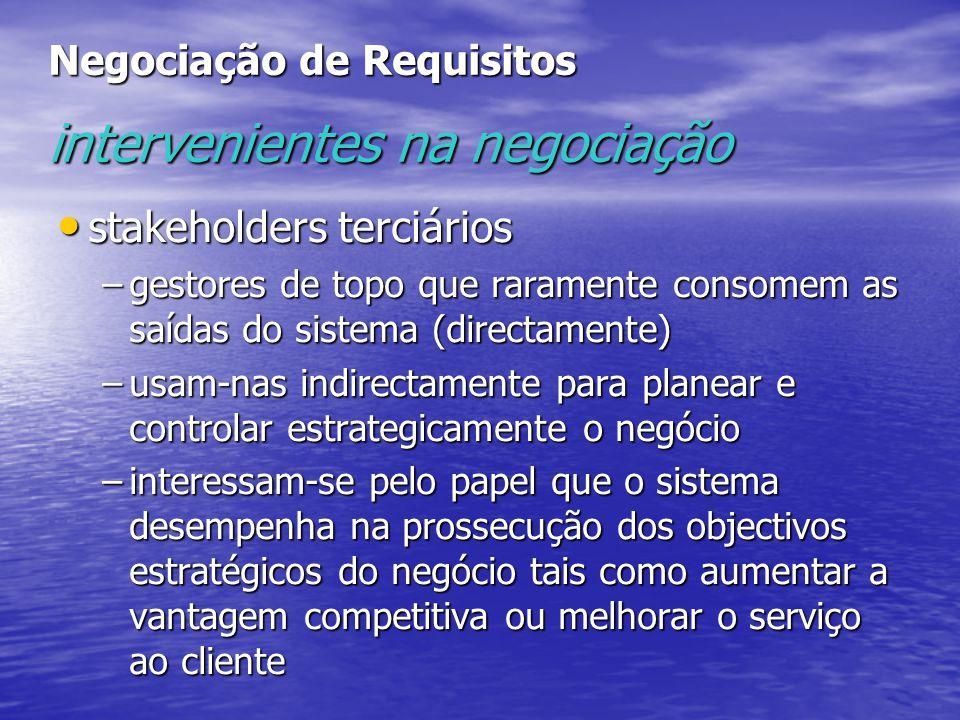 Negociação de Requisitos intervenientes na negociação stakeholders terciários stakeholders terciários –gestores de topo que raramente consomem as saíd