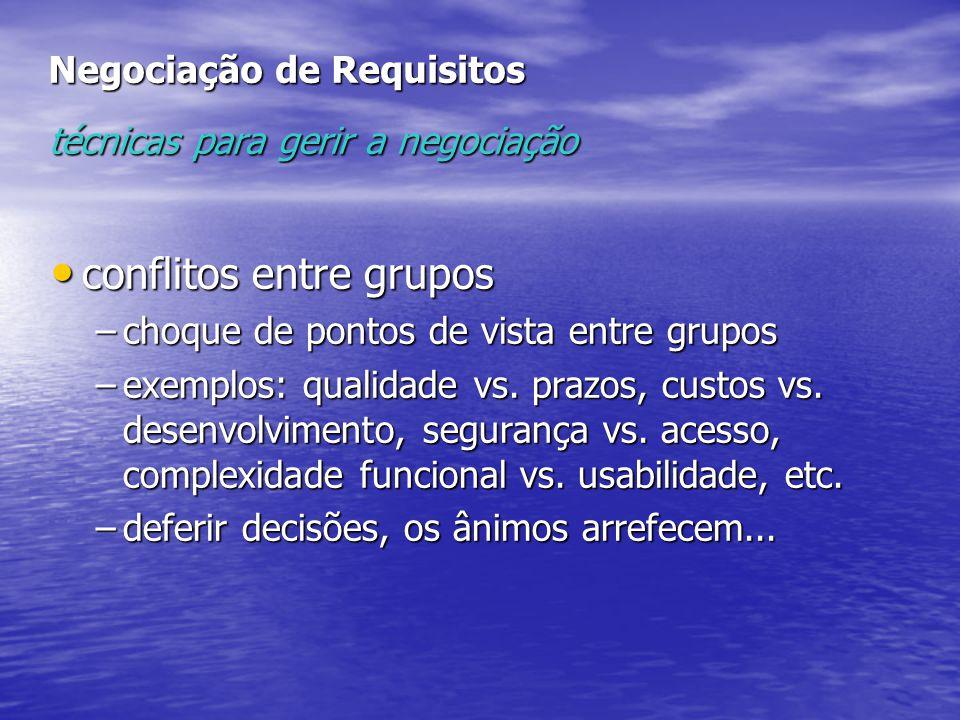 Negociação de Requisitos técnicas para gerir a negociação conflitos entre grupos conflitos entre grupos –choque de pontos de vista entre grupos –exemp