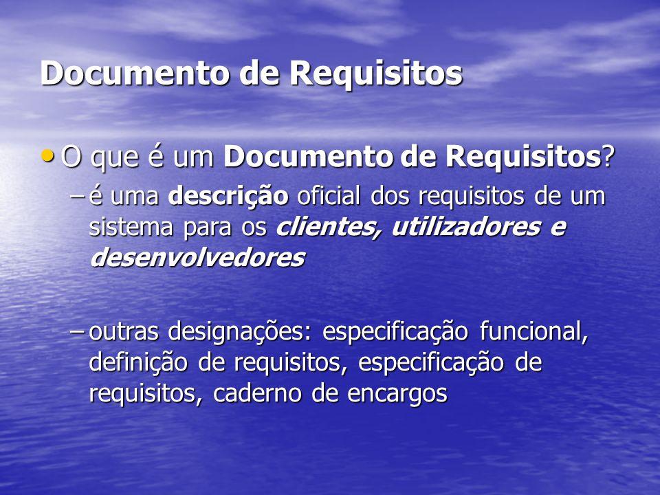Documento de Requisitos O que é um Documento de Requisitos? O que é um Documento de Requisitos? –é uma descrição oficial dos requisitos de um sistema
