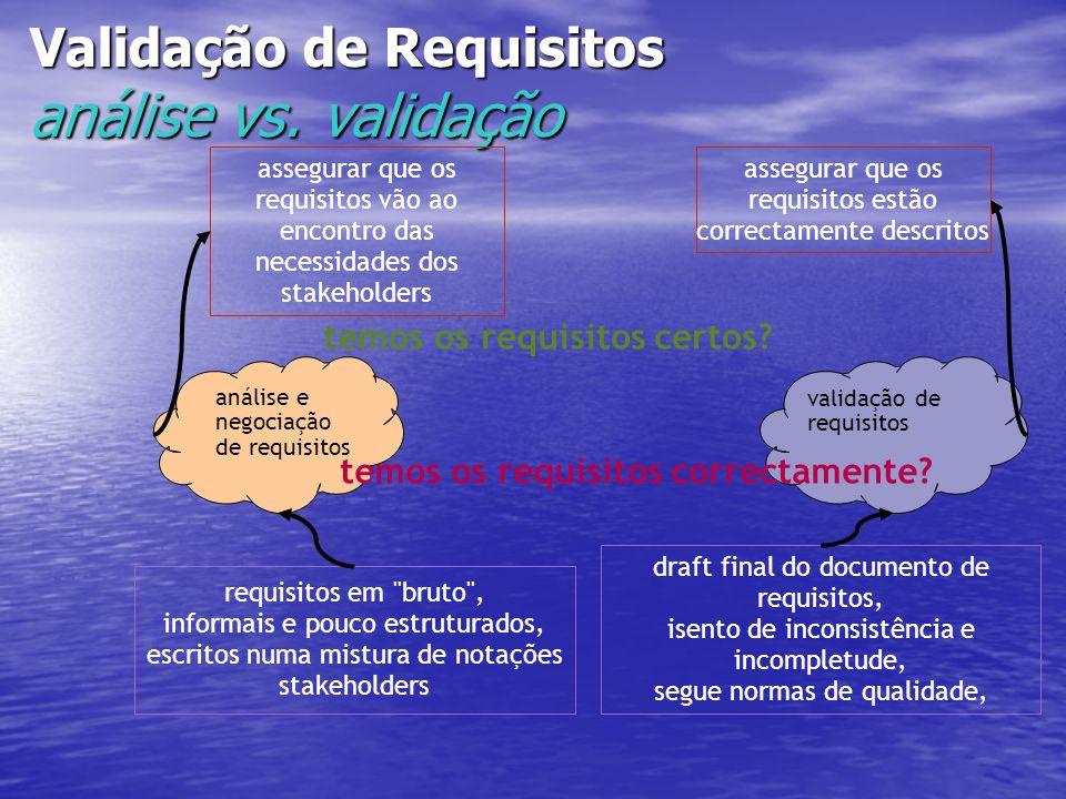 Validação de Requisitos análise vs. validação análise e negociação de requisitos assegurar que os requisitos vão ao encontro das necessidades dos stak