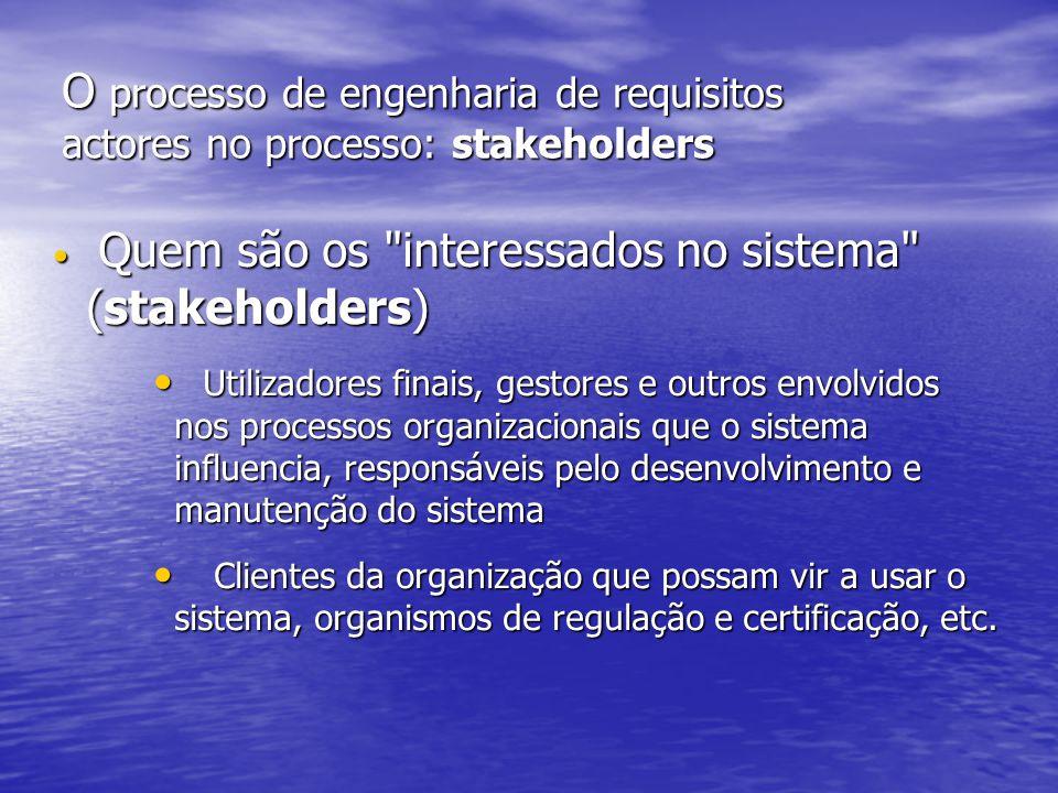 O processo de engenharia de requisitos actores no processo: stakeholders Quem são os interessados no sistema (stakeholders) Quem são os interessados no sistema (stakeholders) Utilizadores finais, gestores e outros envolvidos nos processos organizacionais que o sistema influencia, responsáveis pelo desenvolvimento e manutenção do sistema Utilizadores finais, gestores e outros envolvidos nos processos organizacionais que o sistema influencia, responsáveis pelo desenvolvimento e manutenção do sistema Clientes da organização que possam vir a usar o sistema, organismos de regulação e certificação, etc.