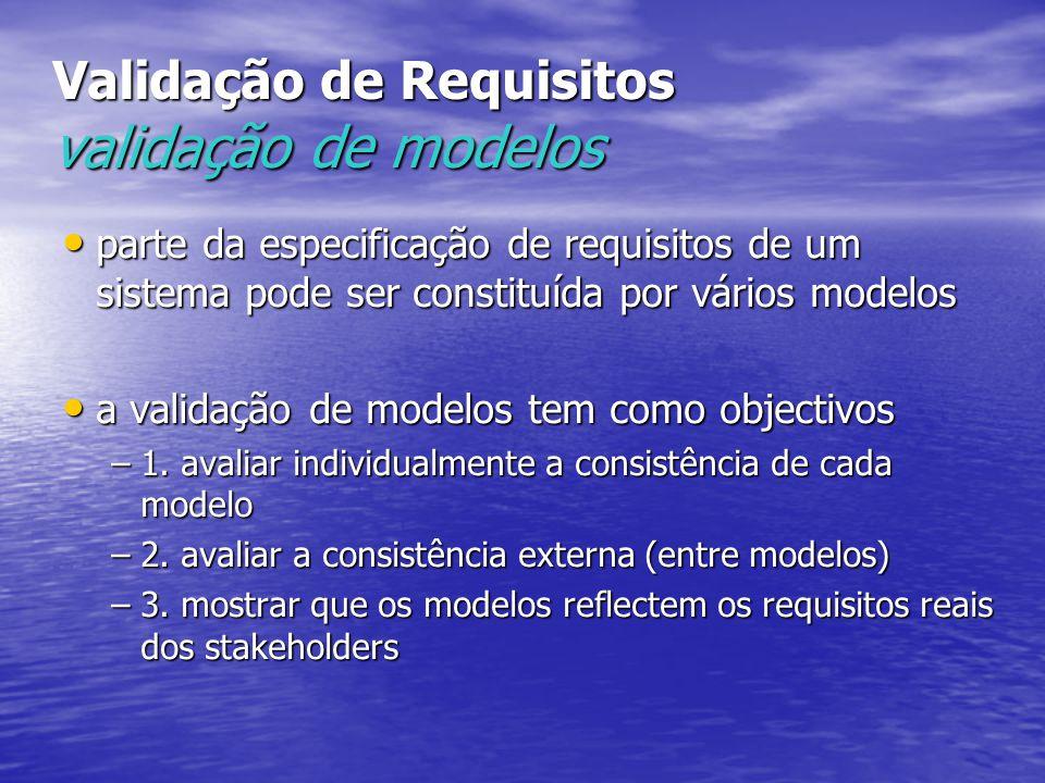 Validação de Requisitos validação de modelos parte da especificação de requisitos de um sistema pode ser constituída por vários modelos parte da especificação de requisitos de um sistema pode ser constituída por vários modelos a validação de modelos tem como objectivos a validação de modelos tem como objectivos –1.