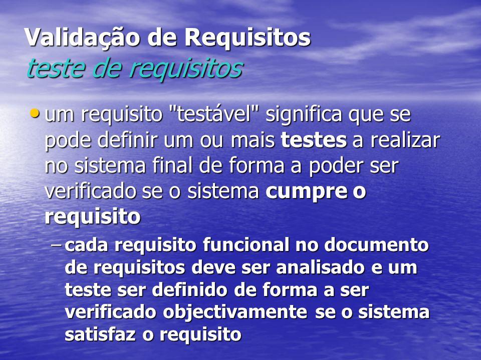 Validação de Requisitos teste de requisitos um requisito