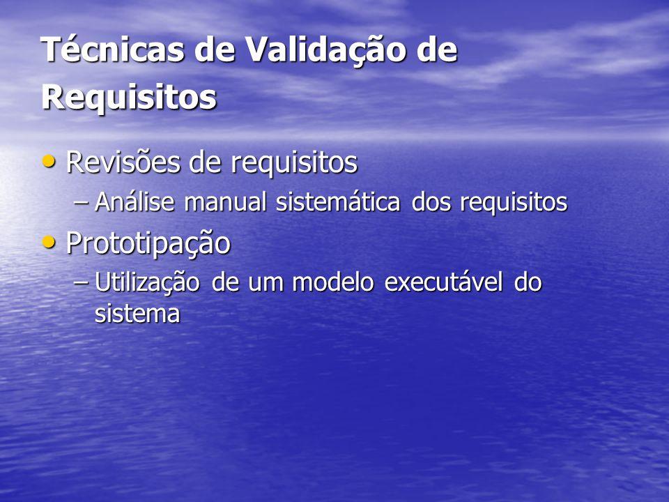 Técnicas de Validação de Requisitos Revisões de requisitos Revisões de requisitos –Análise manual sistemática dos requisitos Prototipação Prototipação