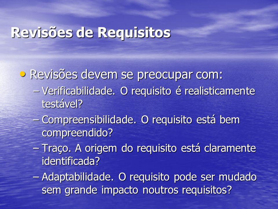 Revisões de Requisitos Revisões devem se preocupar com: Revisões devem se preocupar com: –Verificabilidade. O requisito é realisticamente testável? –C