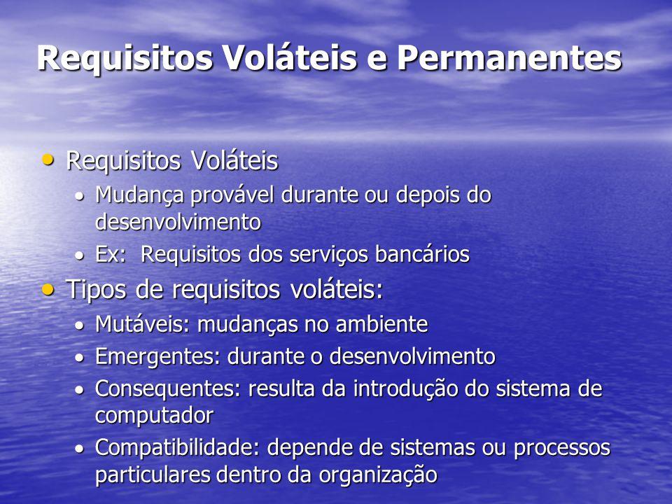 Requisitos Voláteis e Permanentes Requisitos Voláteis Requisitos Voláteis  Mudança provável durante ou depois do desenvolvimento  Ex: Requisitos dos