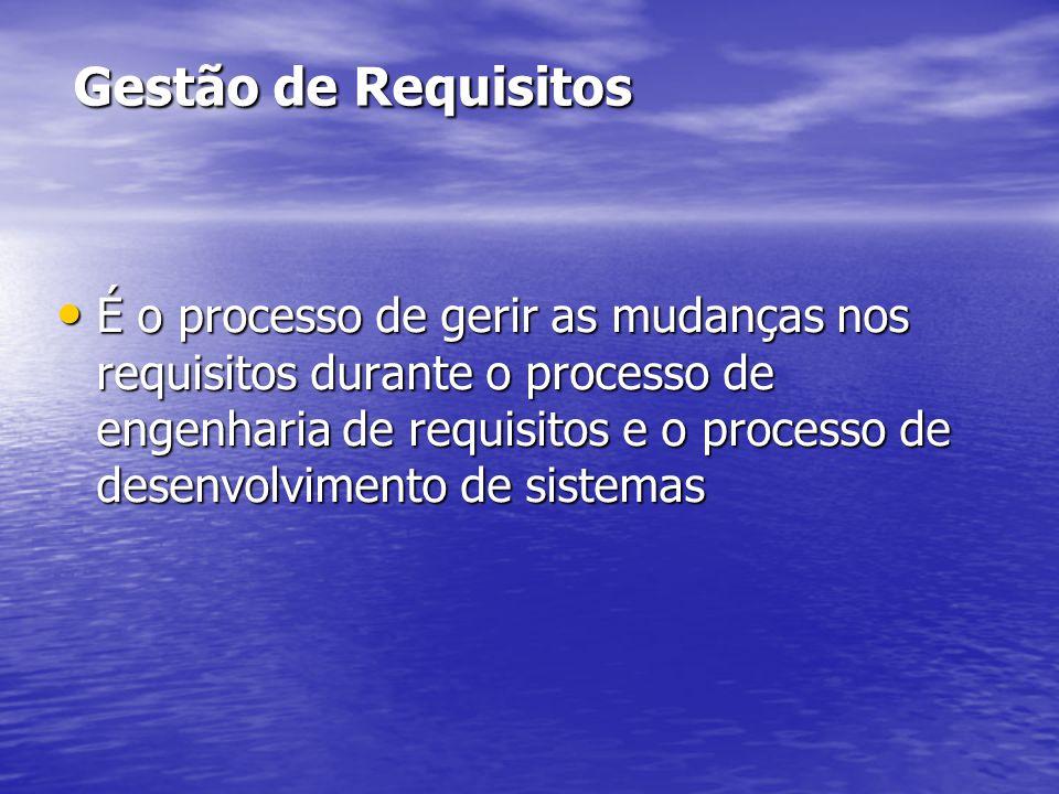 Gestão de Requisitos É o processo de gerir as mudanças nos requisitos durante o processo de engenharia de requisitos e o processo de desenvolvimento d