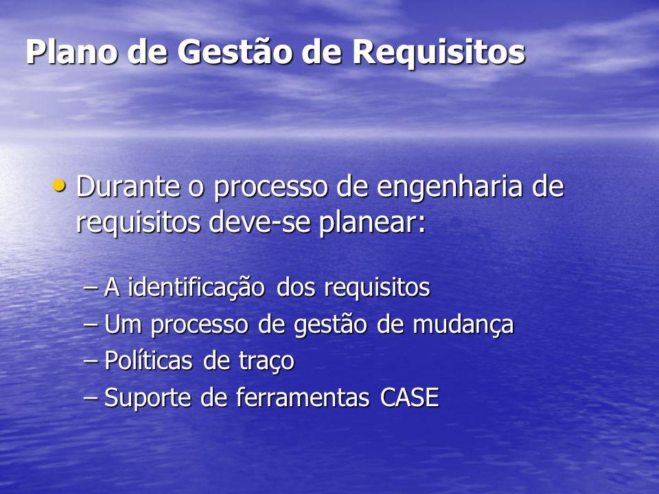Plano de Gestão de Requisitos Durante o processo de engenharia de requisitos deve-se planear: Durante o processo de engenharia de requisitos deve-se planear: –A identificação dos requisitos –Um processo de gestão de mudança –Políticas de traço –Suporte de ferramentas CASE