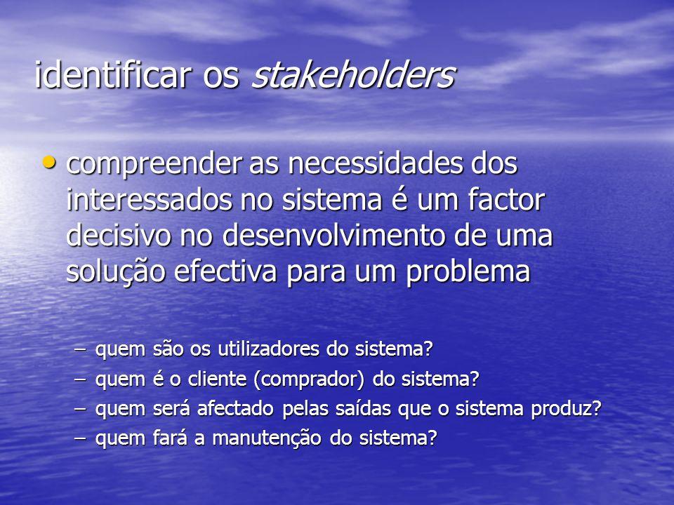 identificar os stakeholders compreender as necessidades dos interessados no sistema é um factor decisivo no desenvolvimento de uma solução efectiva pa