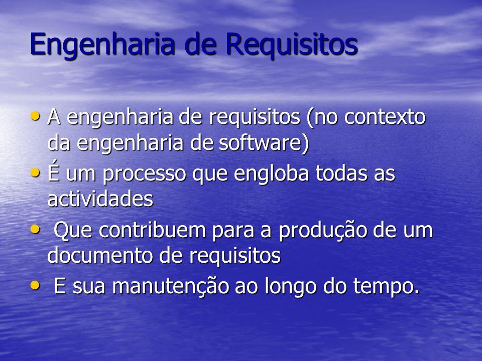 Engenharia de Requisitos A engenharia de requisitos (no contexto da engenharia de software) A engenharia de requisitos (no contexto da engenharia de software) É um processo que engloba todas as actividades É um processo que engloba todas as actividades Que contribuem para a produção de um documento de requisitos Que contribuem para a produção de um documento de requisitos E sua manutenção ao longo do tempo.