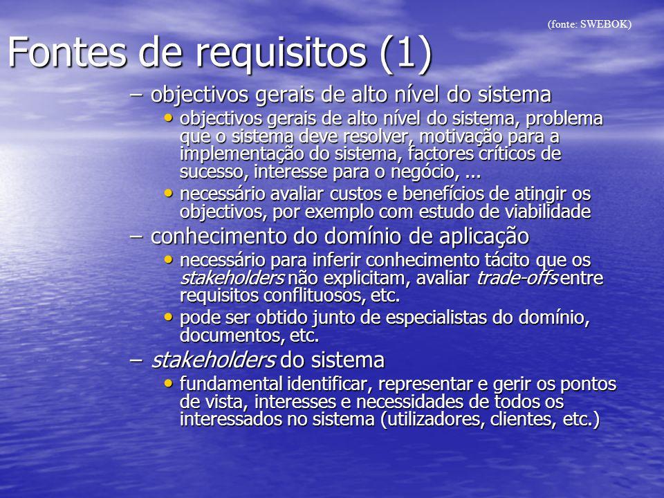 Fontes de requisitos (1) –objectivos gerais de alto nível do sistema objectivos gerais de alto nível do sistema, problema que o sistema deve resolver,