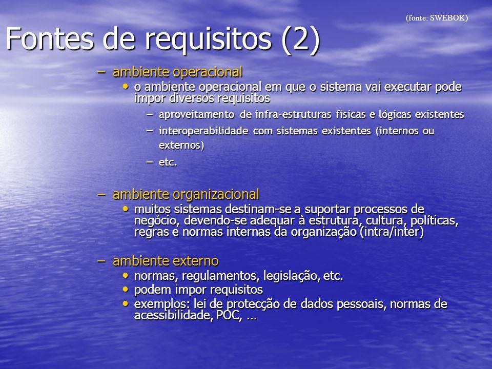 Fontes de requisitos (2) –ambiente operacional o ambiente operacional em que o sistema vai executar pode impor diversos requisitos o ambiente operacio