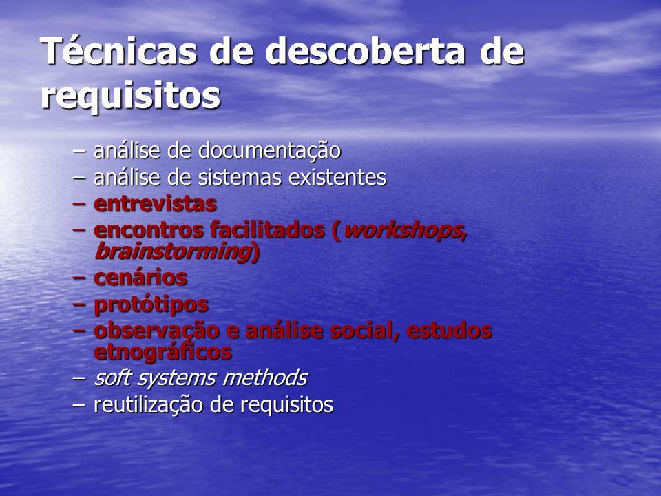 Técnicas de descoberta de requisitos –análise de documentação –análise de sistemas existentes –entrevistas –encontros facilitados (workshops, brainstorming) –cenários –protótipos –observação e análise social, estudos etnográficos –soft systems methods –reutilização de requisitos