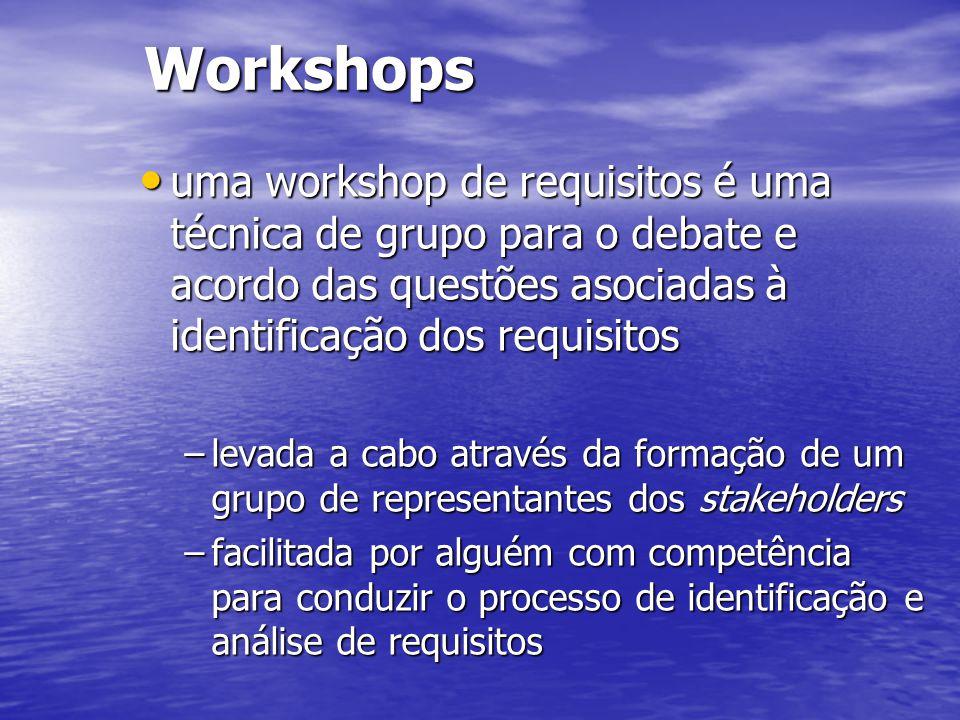 Workshops uma workshop de requisitos é uma técnica de grupo para o debate e acordo das questões asociadas à identificação dos requisitos uma workshop de requisitos é uma técnica de grupo para o debate e acordo das questões asociadas à identificação dos requisitos –levada a cabo através da formação de um grupo de representantes dos stakeholders –facilitada por alguém com competência para conduzir o processo de identificação e análise de requisitos