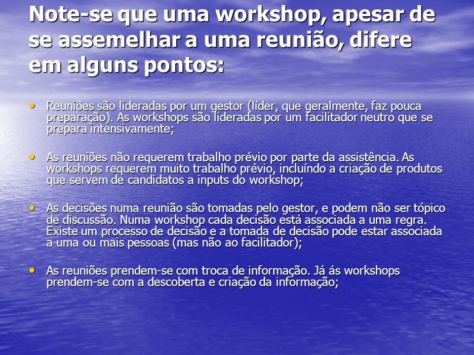 Note-se que uma workshop, apesar de se assemelhar a uma reunião, difere em alguns pontos: Reuniões são lideradas por um gestor (líder, que geralmente, faz pouca preparação).