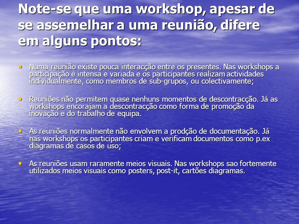 Note-se que uma workshop, apesar de se assemelhar a uma reunião, difere em alguns pontos: Numa reunião existe pouca interacção entre os presentes. Nas