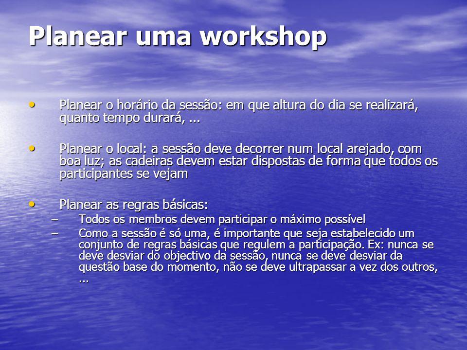 Planear uma workshop Planear o horário da sessão: em que altura do dia se realizará, quanto tempo durará,... Planear o horário da sessão: em que altur