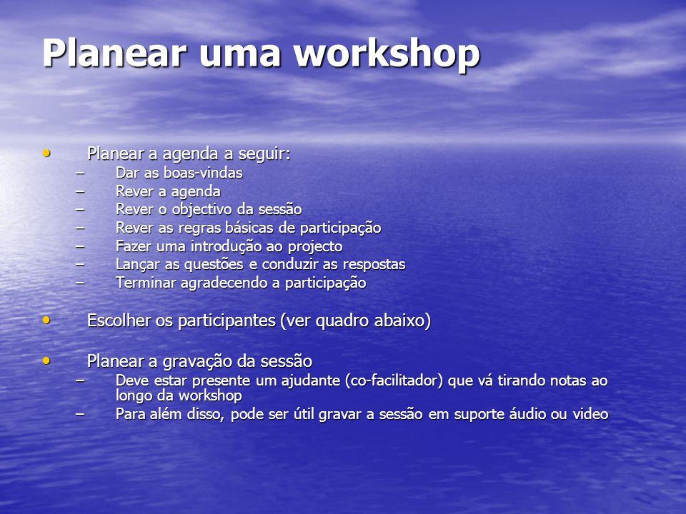 Planear uma workshop Planear a agenda a seguir: Planear a agenda a seguir: –Dar as boas-vindas –Rever a agenda –Rever o objectivo da sessão –Rever as