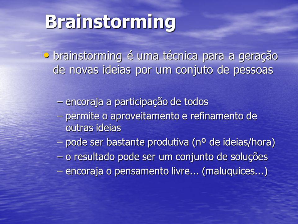 Brainstorming brainstorming é uma técnica para a geração de novas ideias por um conjuto de pessoas brainstorming é uma técnica para a geração de novas ideias por um conjuto de pessoas –encoraja a participação de todos –permite o aproveitamento e refinamento de outras ideias –pode ser bastante produtiva (nº de ideias/hora) –o resultado pode ser um conjunto de soluções –encoraja o pensamento livre...