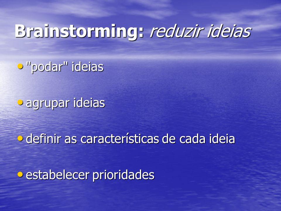 Brainstorming: reduzir ideias podar ideias podar ideias agrupar ideias agrupar ideias definir as características de cada ideia definir as características de cada ideia estabelecer prioridades estabelecer prioridades