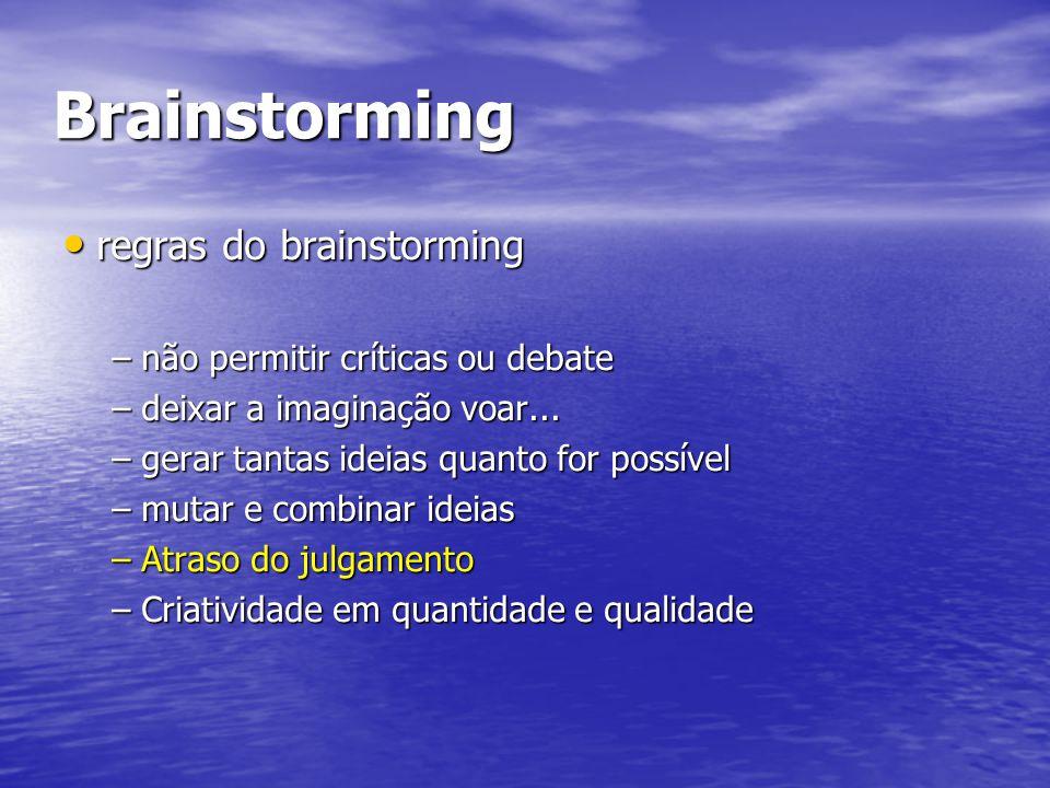Brainstorming regras do brainstorming regras do brainstorming –não permitir críticas ou debate –deixar a imaginação voar... –gerar tantas ideias quant