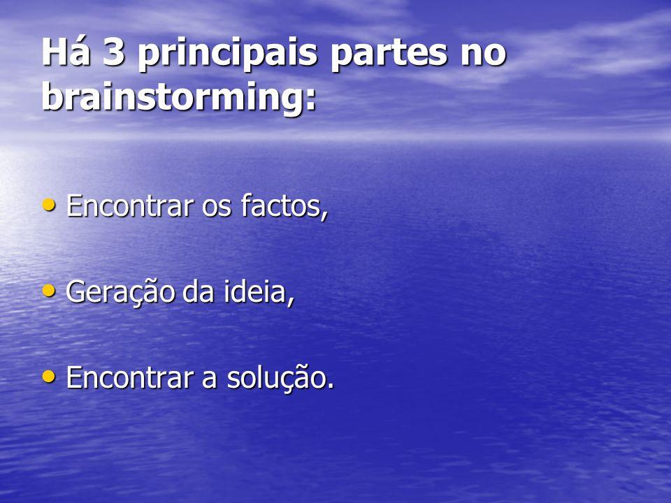 Há 3 principais partes no brainstorming: Encontrar os factos, Encontrar os factos, Geração da ideia, Geração da ideia, Encontrar a solução. Encontrar
