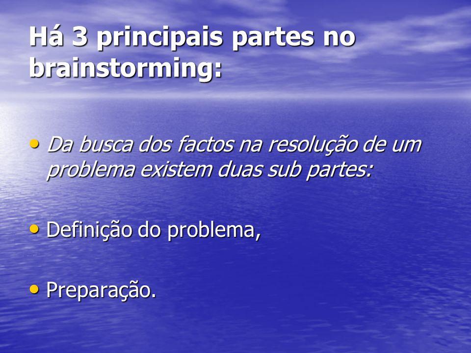 Há 3 principais partes no brainstorming: Da busca dos factos na resolução de um problema existem duas sub partes: Da busca dos factos na resolução de um problema existem duas sub partes: Definição do problema, Definição do problema, Preparação.
