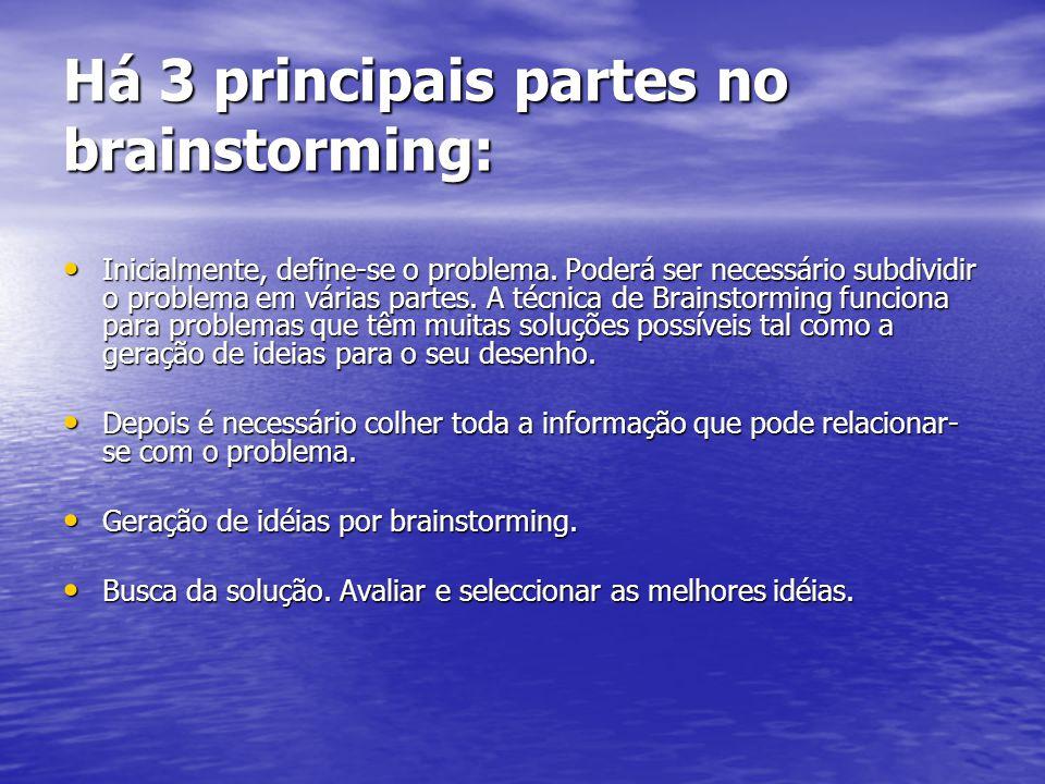 Há 3 principais partes no brainstorming: Inicialmente, define-se o problema. Poderá ser necessário subdividir o problema em várias partes. A técnica d