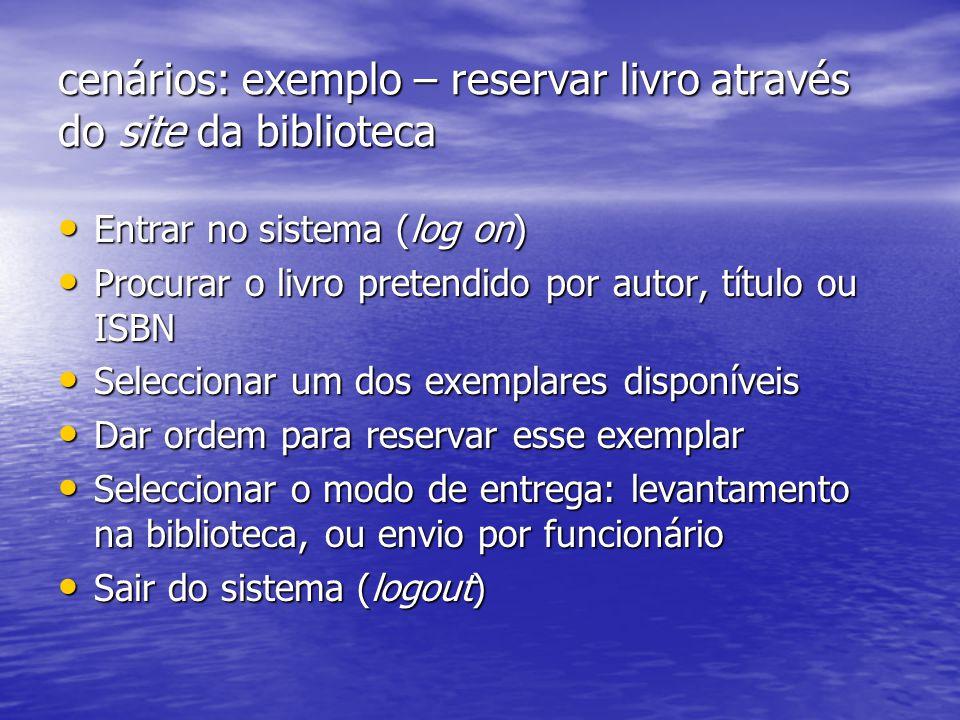 cenários: exemplo – reservar livro através do site da biblioteca Entrar no sistema (log on) Entrar no sistema (log on) Procurar o livro pretendido por