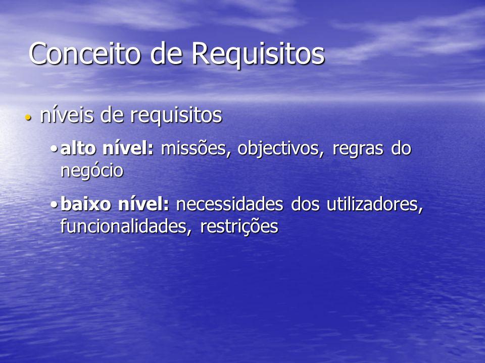 Conceito de Requisitos níveis de requisitos níveis de requisitos alto nível: missões, objectivos, regras do negócioalto nível: missões, objectivos, regras do negócio baixo nível: necessidades dos utilizadores, funcionalidades, restriçõesbaixo nível: necessidades dos utilizadores, funcionalidades, restrições