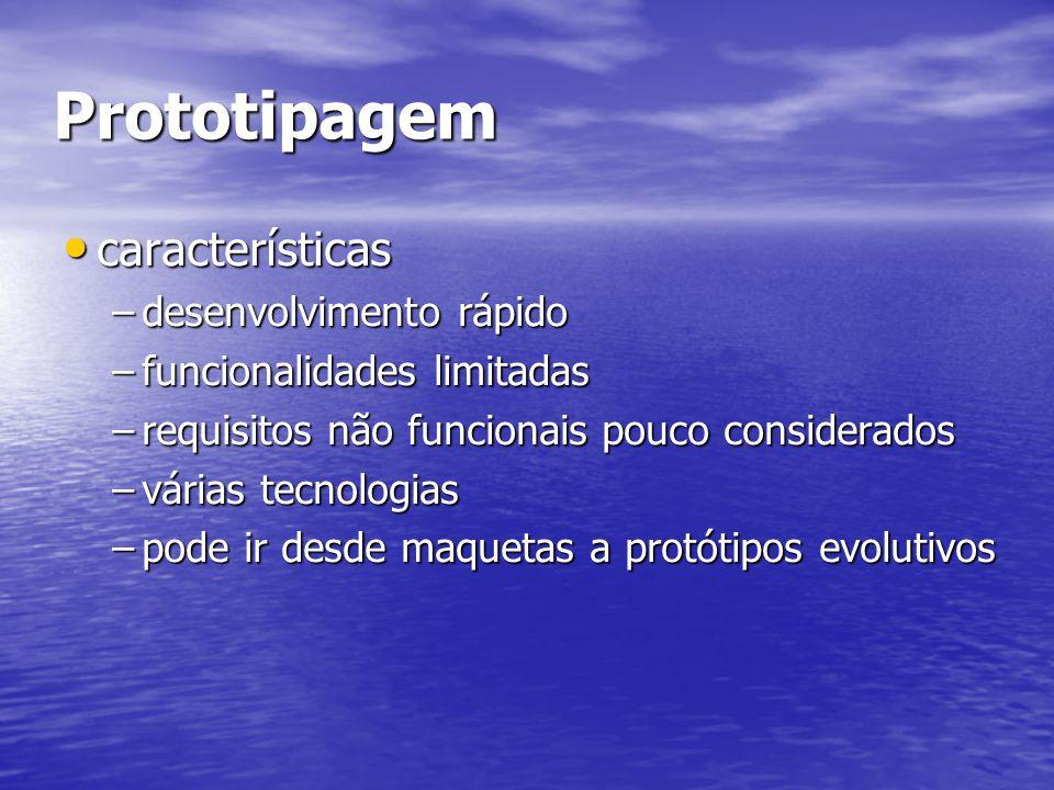 Prototipagem características características –desenvolvimento rápido –funcionalidades limitadas –requisitos não funcionais pouco considerados –várias tecnologias –pode ir desde maquetas a protótipos evolutivos