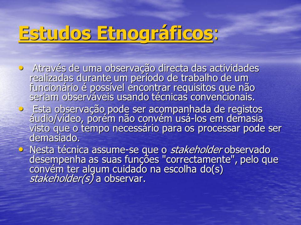 Estudos EtnográficosEstudos Etnográficos: Estudos Etnográficos Através de uma observação directa das actividades realizadas durante um período de trab