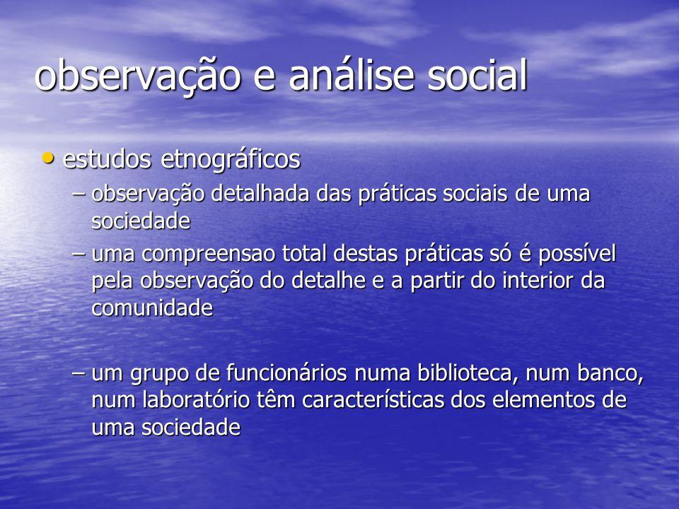 observação e análise social estudos etnográficos estudos etnográficos –observação detalhada das práticas sociais de uma sociedade –uma compreensao tot