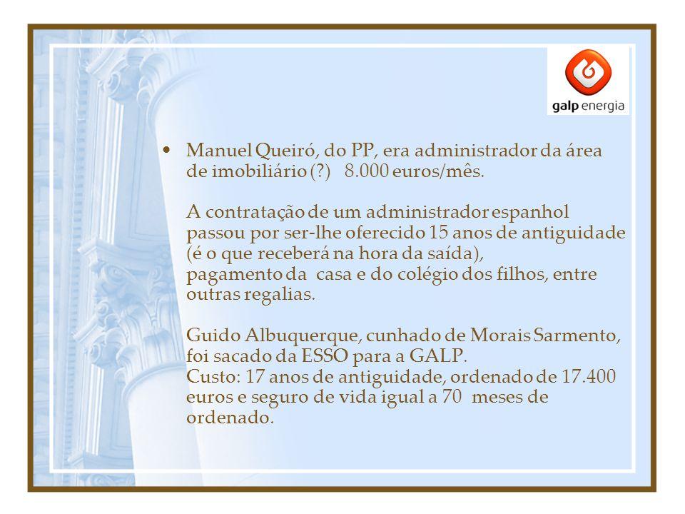 Manuel Queiró, do PP, era administrador da área de imobiliário ( ) 8.000 euros/mês.