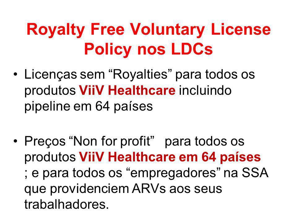 Royalty Free Voluntary License Policy nos LDCs Licenças sem Royalties para todos os produtos ViiV Healthcare incluindo pipeline em 64 países Preços Non for profit para todos os produtos ViiV Healthcare em 64 países ; e para todos os empregadores na SSA que providenciem ARVs aos seus trabalhadores.