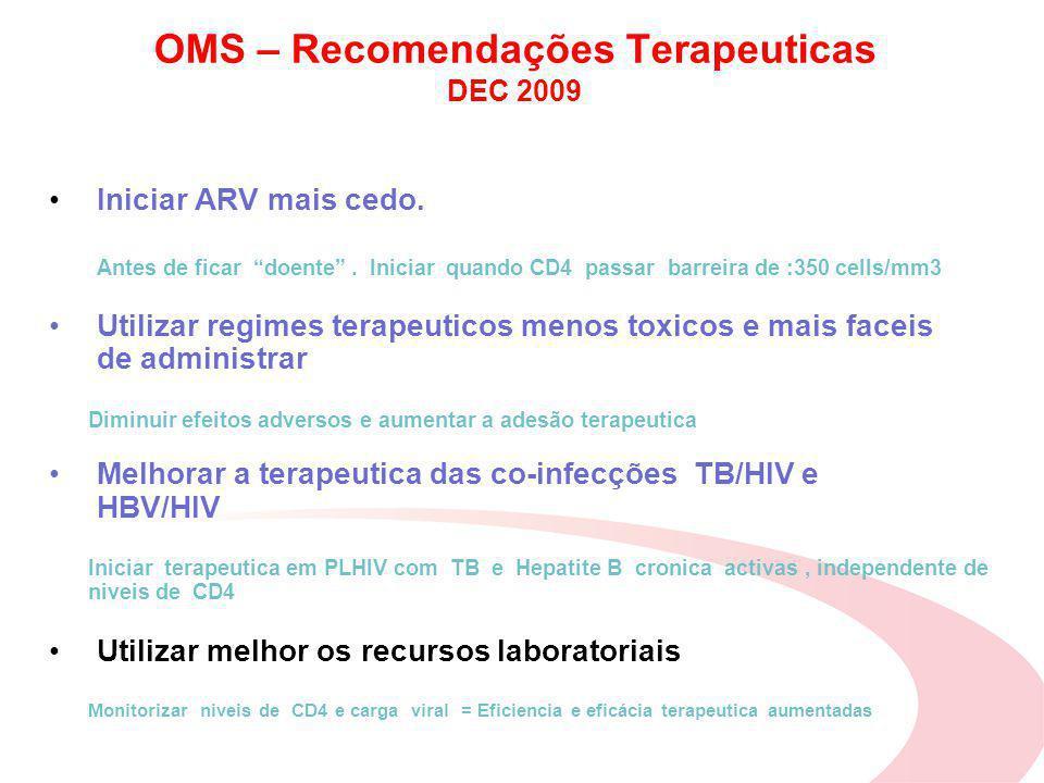 OMS – Recomendações Terapeuticas DEC 2009 Iniciar ARV mais cedo.